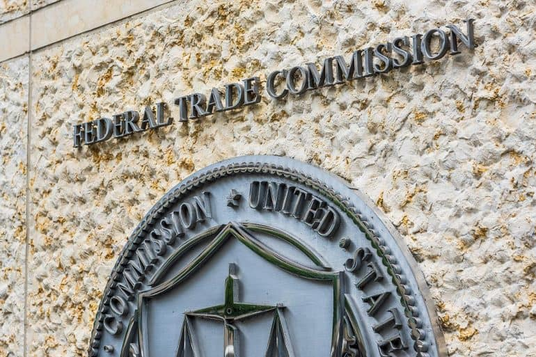 Federal Trade Commission logo on building showing EPIC challenging the removal of $5 billion fine in Facebook settlement