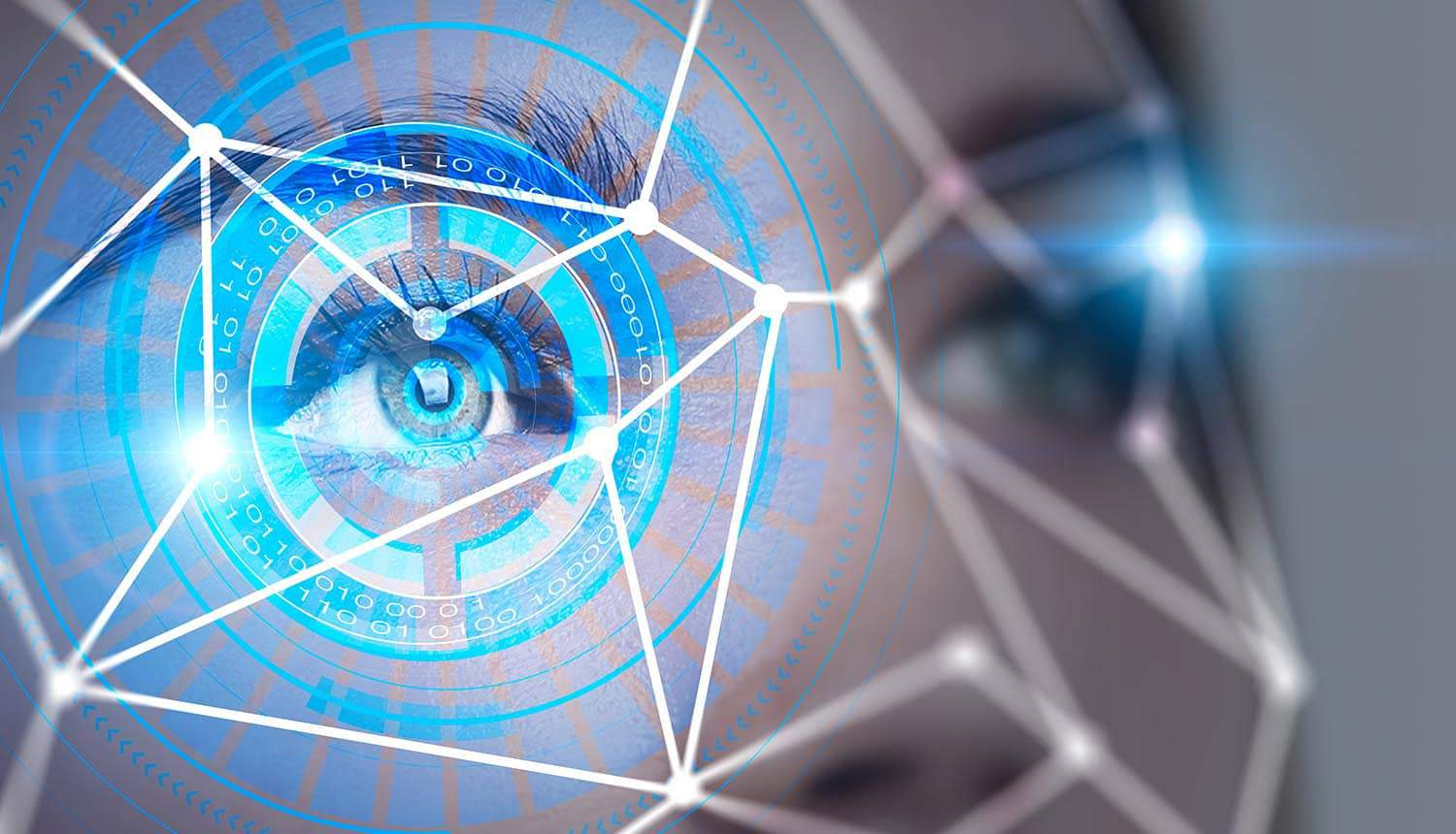 Woman's face with hud interface around eye showing the possibility of Facebook facing billions in losses over facial recognition case