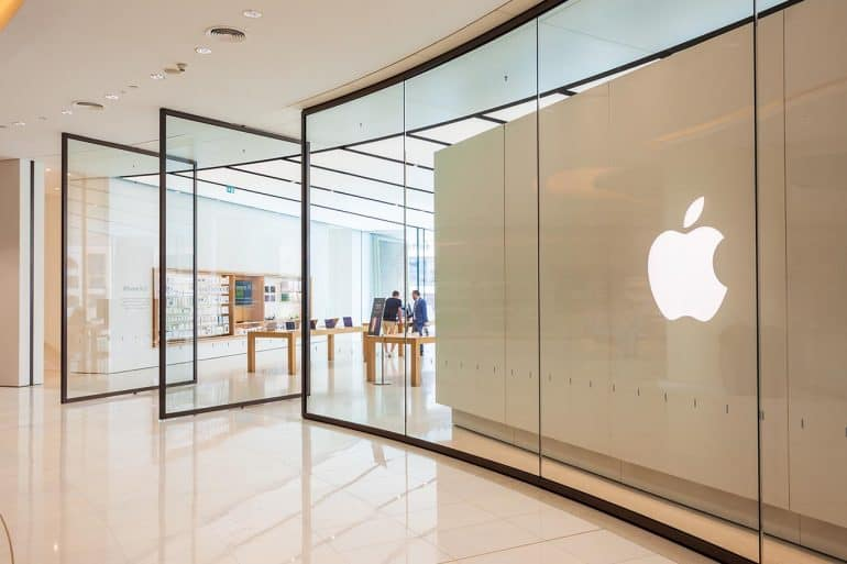 Shopfront of Apple store showing new iOS 13 privacy feature which will close loophole used by VoIP apps
