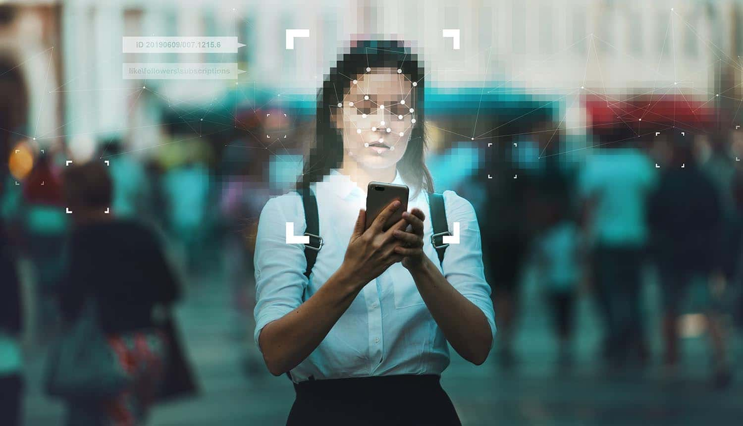 Woman using facial recognition technology on mobile phone showing the use of facial recognition technology on border control in EU