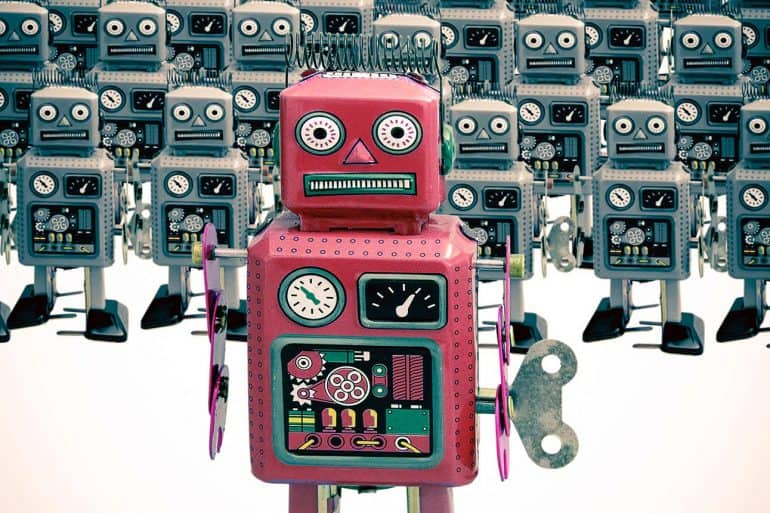 A group of robots showing the growing trend of using bots by online travel agencies