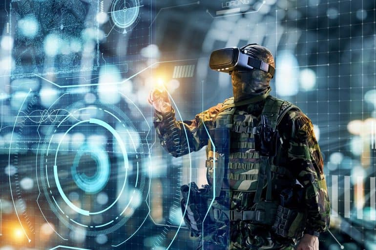 Soldier in glasses of virtual reality showing U.S. cyber command taking more aggressive approach involving persistent engagement ahead of 2020 election