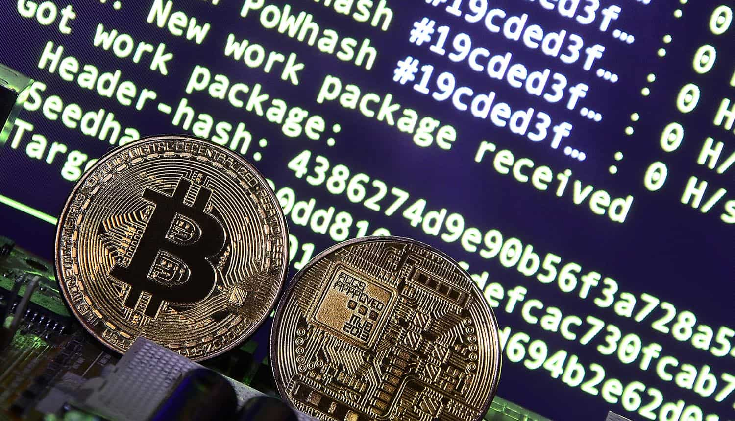 Cryptocurrency and video card on a mining screen showing the cybersecurity threat on cryptocurrency
