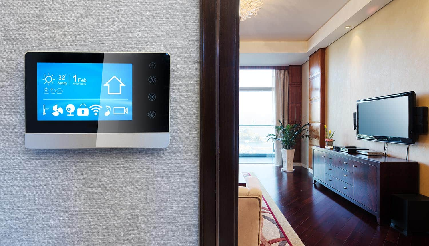 Smart home app on screen in living room showing new IoT privacy issues raised on smart devices leaking data to tech giants