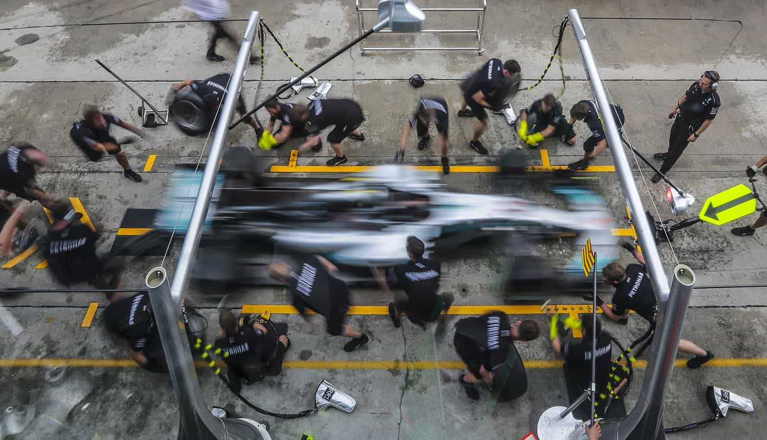 F1 crew practising at pit stop showing how to test incident response plan to ensure consistency and repeatability