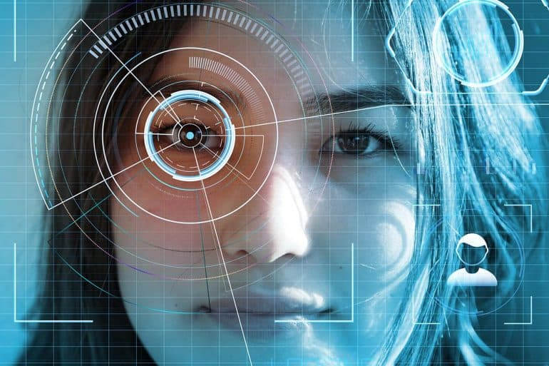 Facial scan of a woman showing the open letter from U.S. Chamber of Commerce to support facial recognition technology