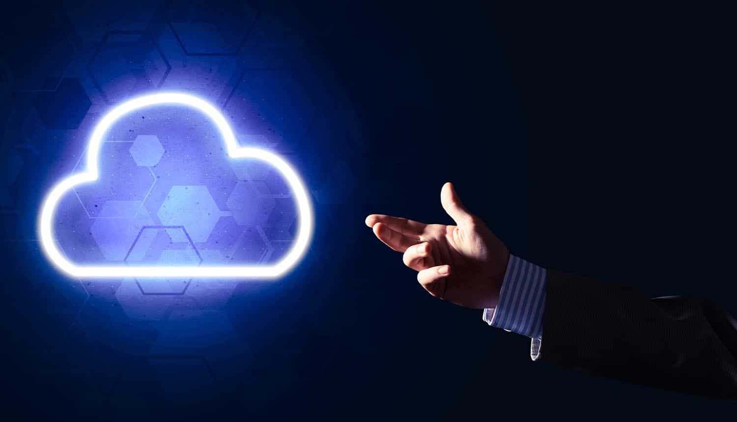 Businessman hand holding cloud-based SD-WAN concept in palm