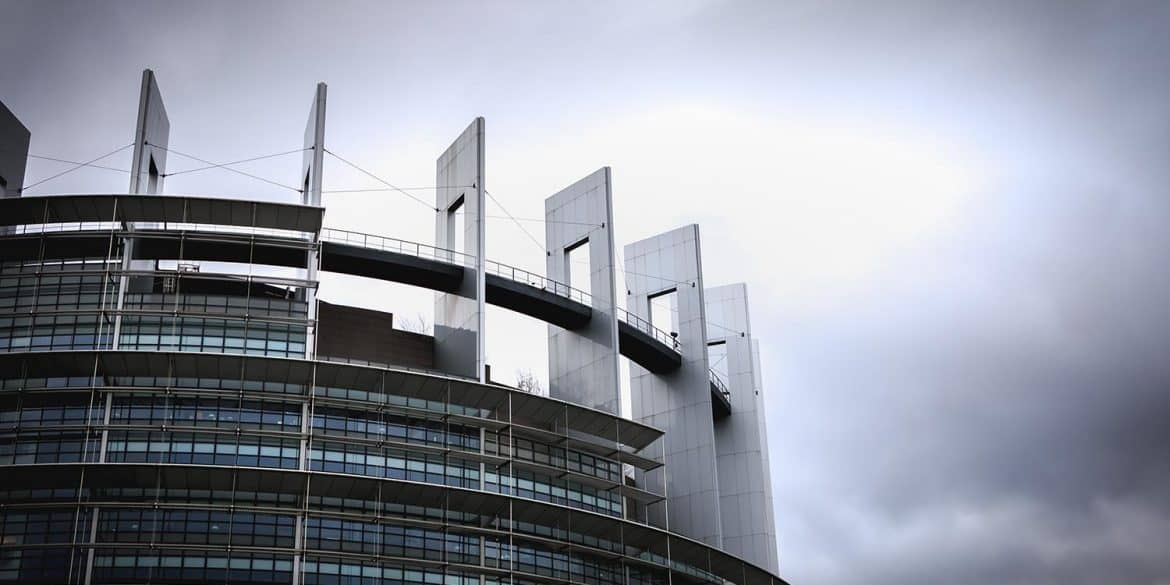 European Parliament building on a winter day at dusk showing conflict of interests for proposed digital commissioner
