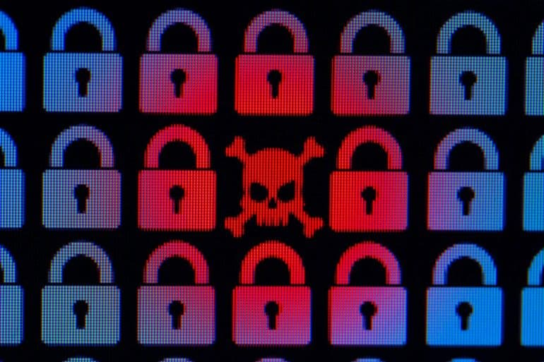 Skull surrounded by padlocks showing Johannesburg as the latest victim to ransomware attacks on cities