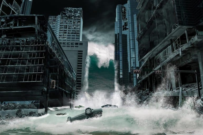 City destroyed by Tsunami waves showing the sustained DDoS attacks on South African banks