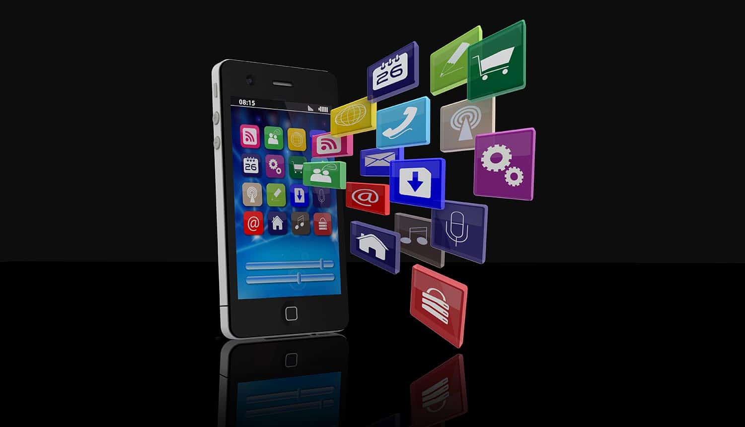 Smartphone with application icons showing the five steps to securing enterprise mobile app
