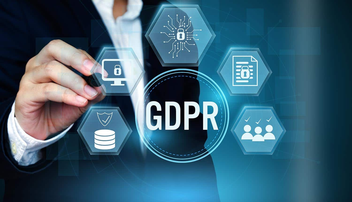 Man touching a virtual screen with GDPR icon showing the basics of GDPR simplified for SMBs