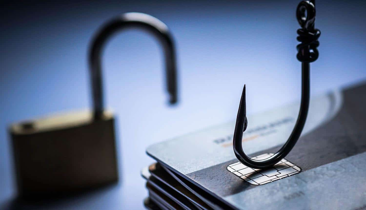 Fishing hook and unlocked padlock showing strategy needed for phishing