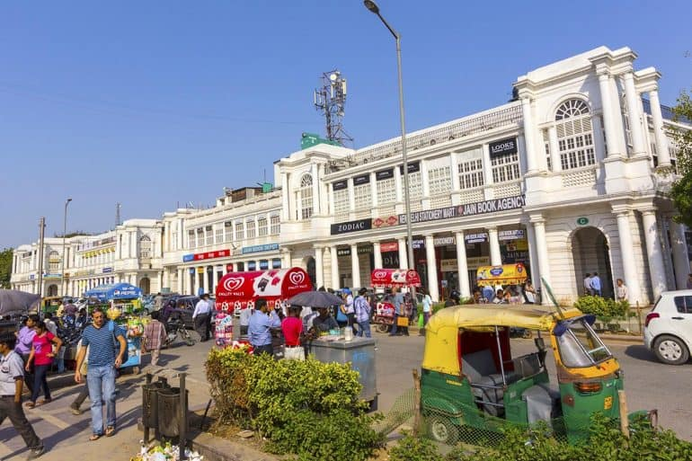 Image of Connaught Place, one of the largest financial commercial and business centers showing challenges with the new India data protection bill