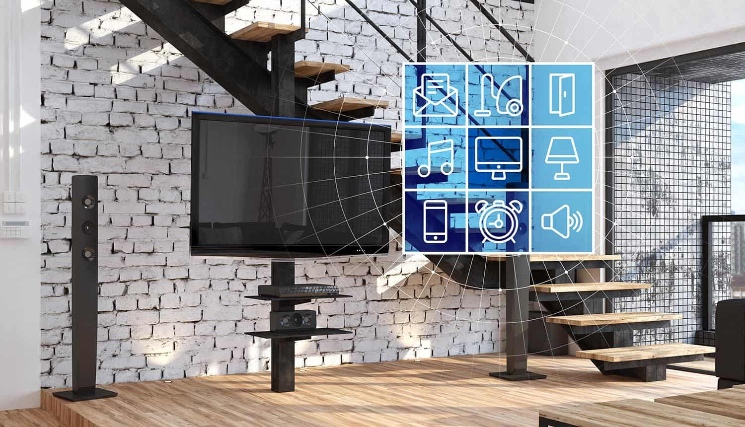 Living area in modern loft with smart devices showing new IoT security ratings