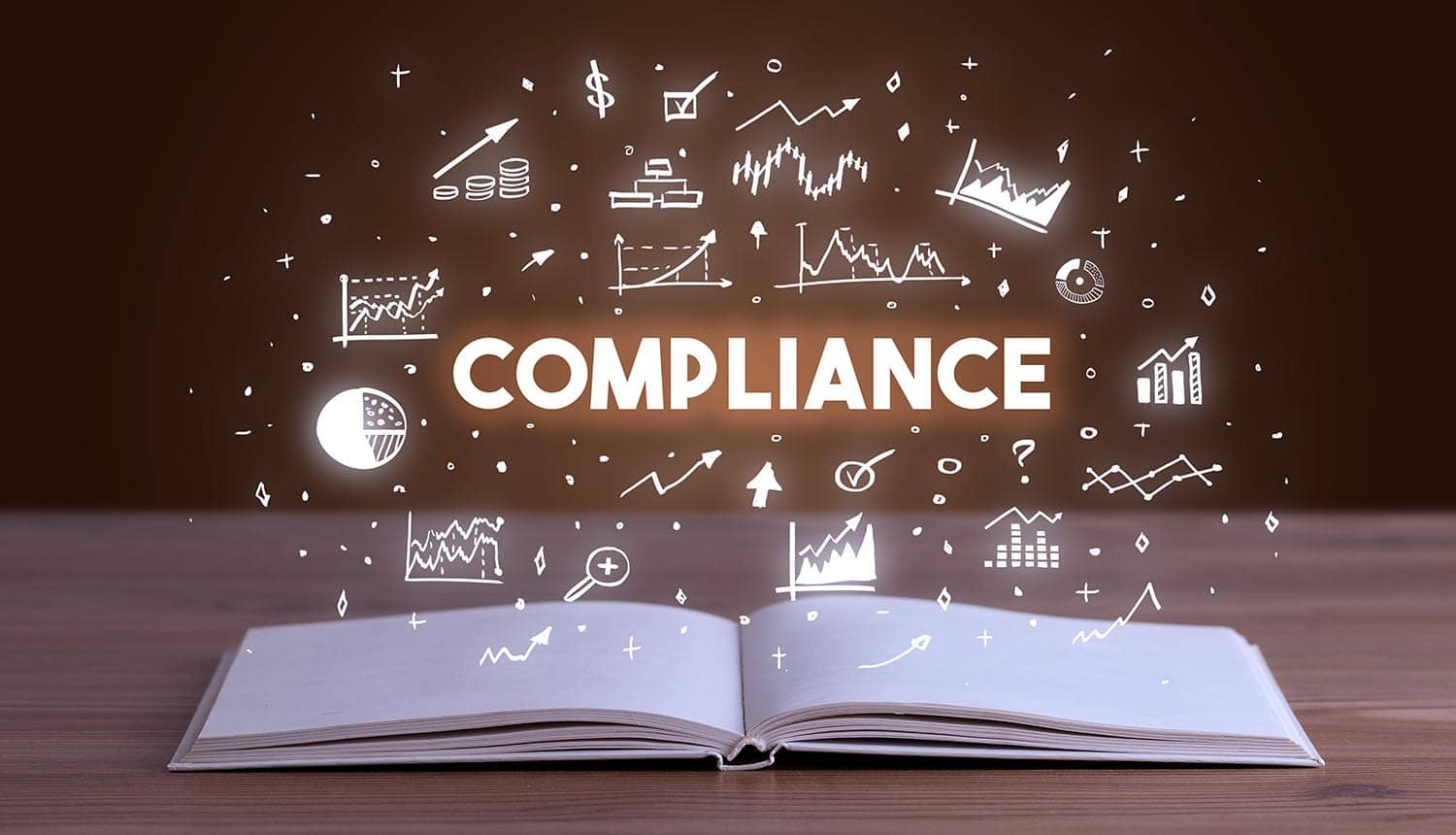 Compliance icon on top of a book showing the technology considerations for CCPA compliance