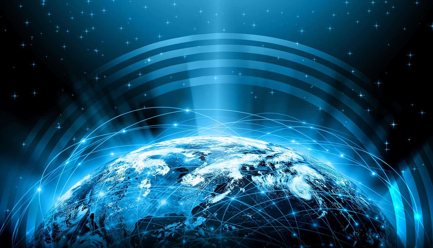 Globe with glowing lines on technological background showing how Contract for the Web aims to create a better internet