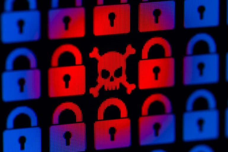 Skull icon with padlock icons showing the top 10 ransomware stories in 2019