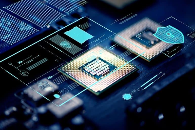 Computer chips on a processor showing how preloaded apps are becoming security threats