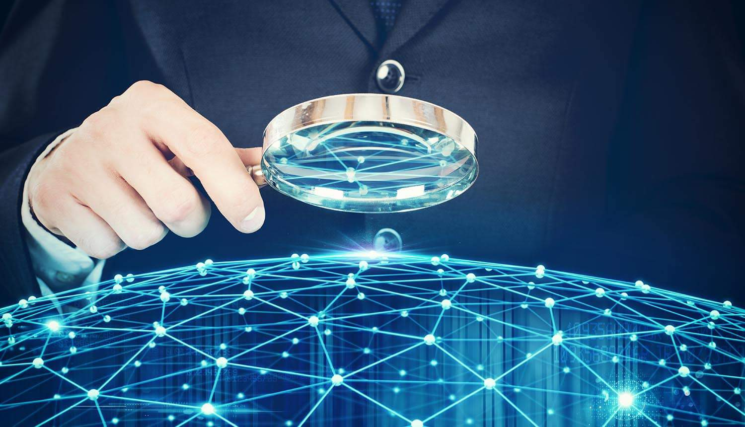 Man holding magnifying glass over a virtual network map showing Facebook not changing web tracking practices as they believe CCPA does not apply to them