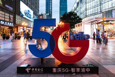 Sign for the launch of China Telecom 5G showing the US's latest move in the 5G race with China