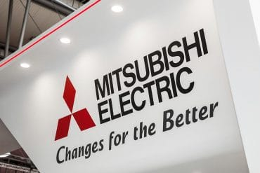 Mitsubishi Electric logo sign on exhibition showing the data breach at Mitsubishi Electric caused by zero-day vulnerability in antivirus software