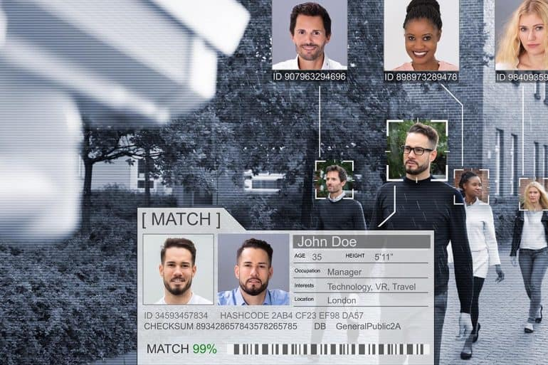 Facial recognition surveillance technology applied on people walking showing the letter drafted to suspend use of facial recognition surveillance technology by federal agencies