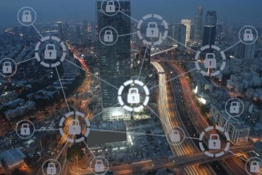 Smart city with lock symbols showing hijack of smart building access control systems for DDoS attacks