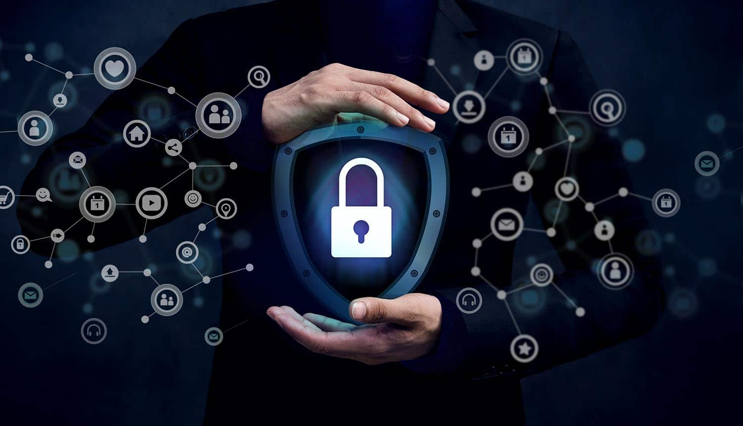 Locked Key inside a shield shows need to keep websites secure and customers safe