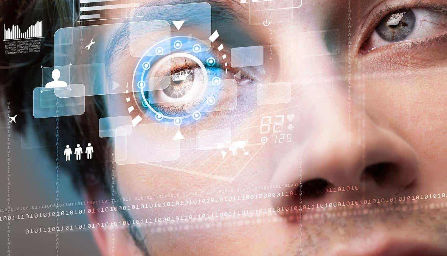 Man with technology virtual icon over his eye showing the use of blockchain-based digital identity technology to provide digital guardianship