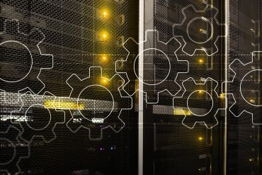 Gear virtual icons on data centre racks shows new study suggests security automation may cause substantial cybersecurity workforce reductions