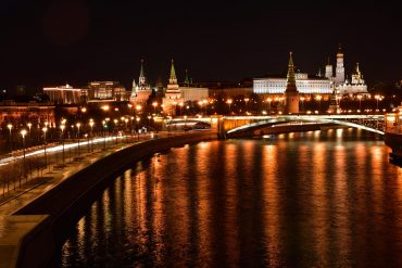 Panoramic night view of the Moscow Kremlin showing blocking of encrypted email providers