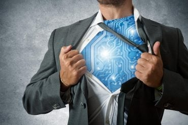 Super hero with computer circuit showing that a cyber security career starts with taking cyber security courses online