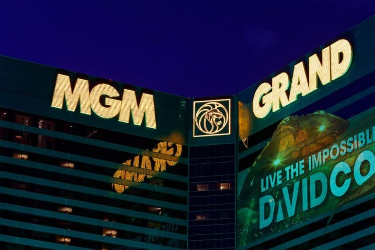 Night view of MGM building showing cloud misconfiguration being the likeliest cause of MGM hotel leaks