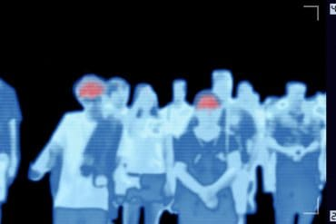 Thermoscan infrared camera scanning people who have fever showing COVID-19 surveillance may threaten civil liberties