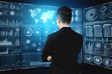 Modern graphic interface shows business information indicating cybersecurity trends