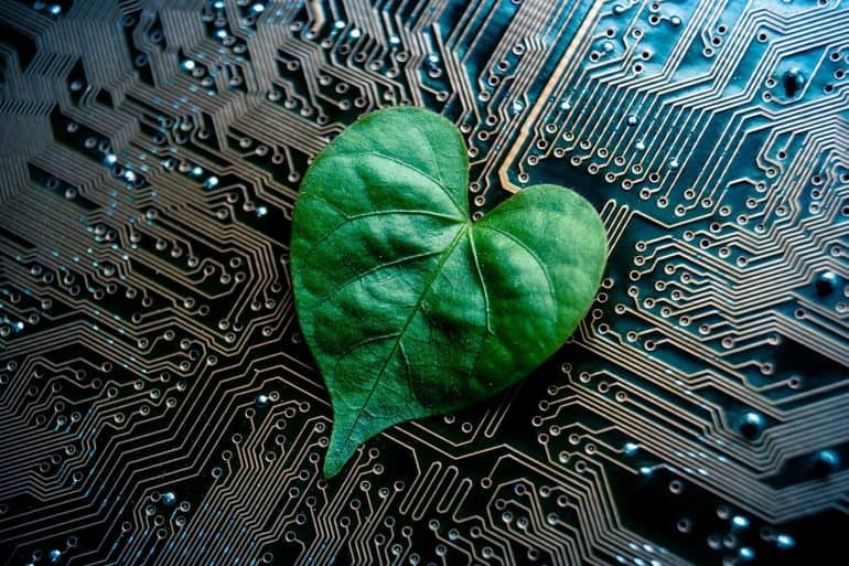 A green leaf with a heart shape on a computer circuit board showing limited climate impact of cloud computing