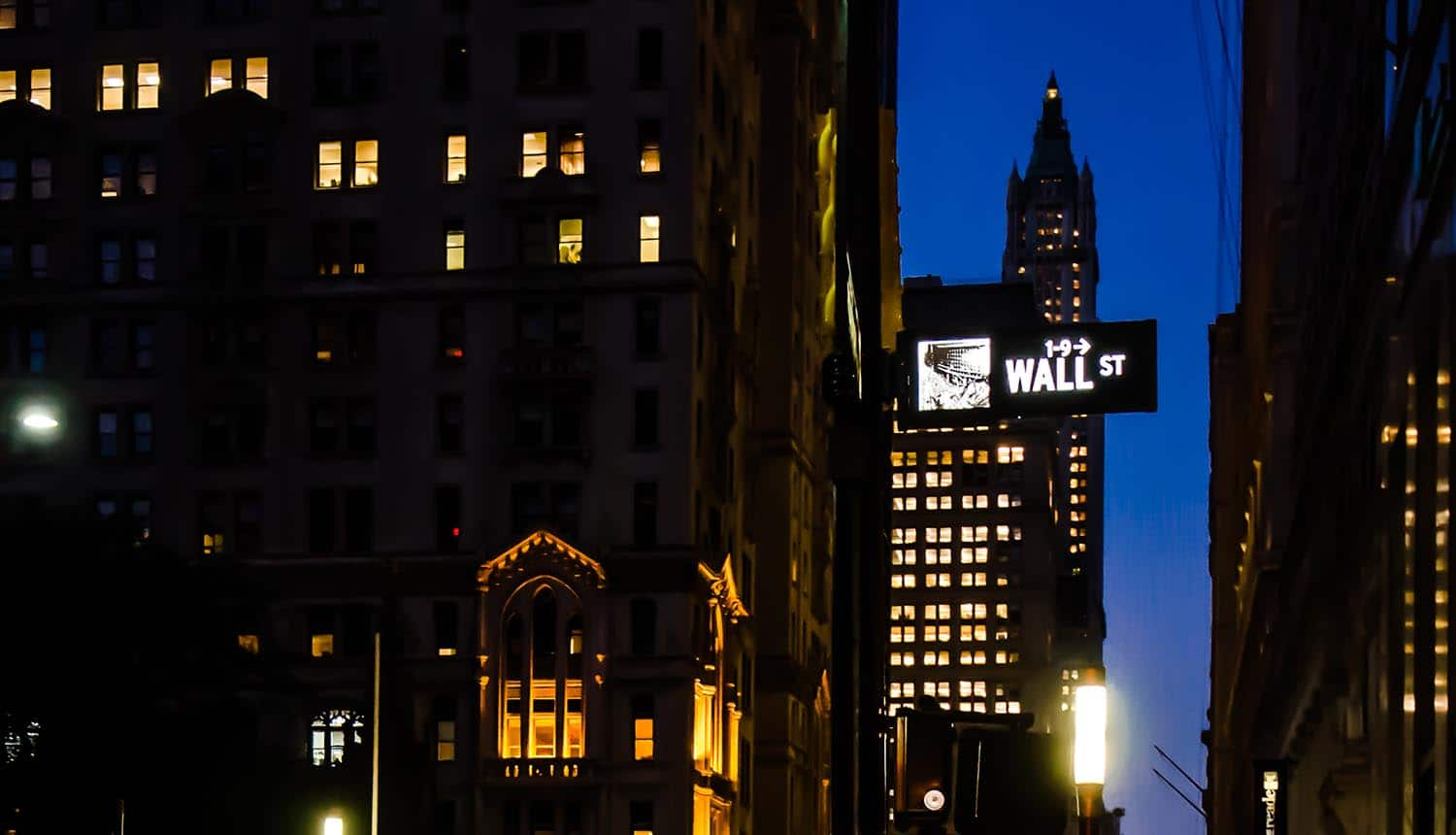 Wall Street signboard in night showing financial services companies lack plans to address privacy risks