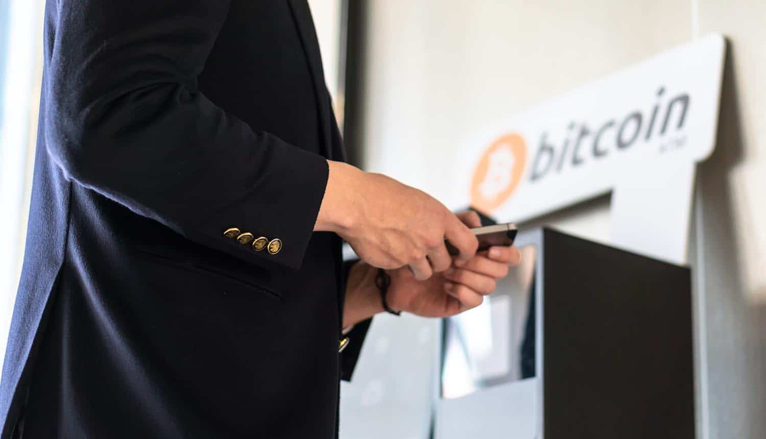 Businessman buying and transferring cryptocurrency