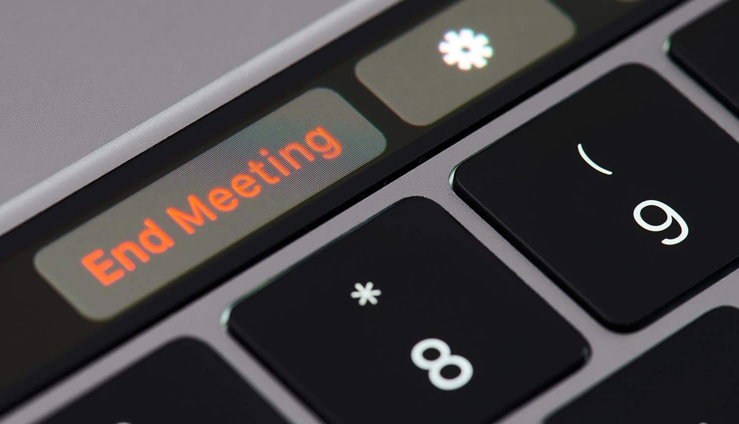 End meeting button on keyboard showing more and more organizations deciding to stop using Zoom as security concerns continue to pile up