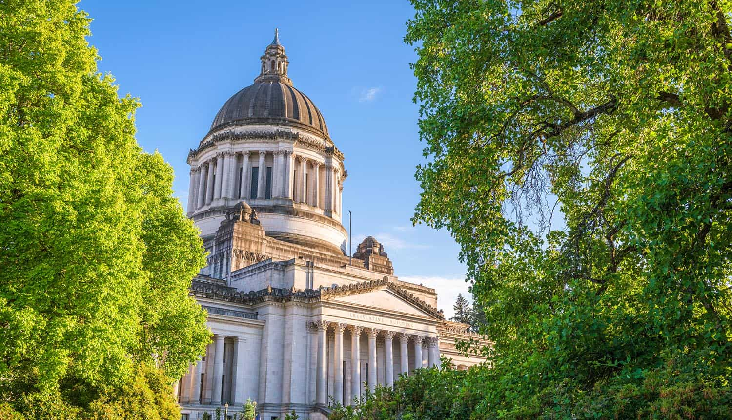 State Capitol building in Washington showing the new law in Washington state that limits the use of facial recognition technology