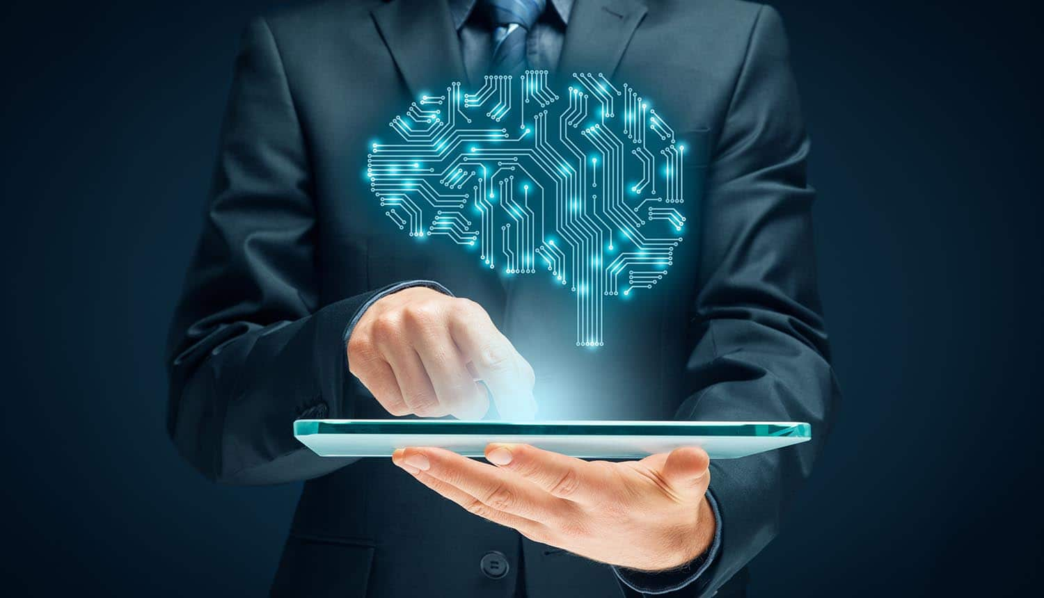Man holding tablet with virtual brain showing the guideline from Council of Europe for algorithmic decision making