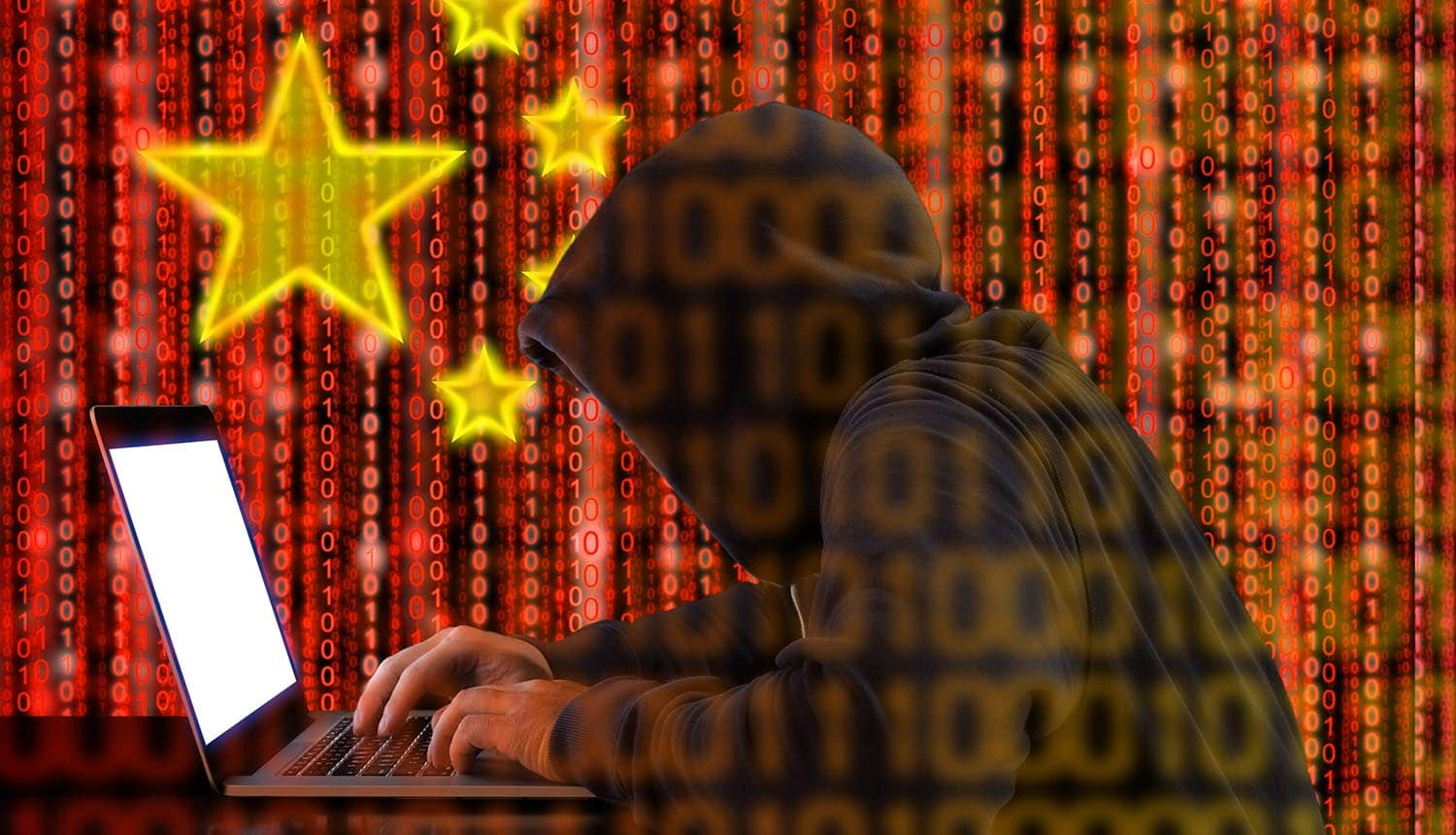 Hacker working on computer with digital China flag in background showing the data of 538 million Weibo users selling on dark web