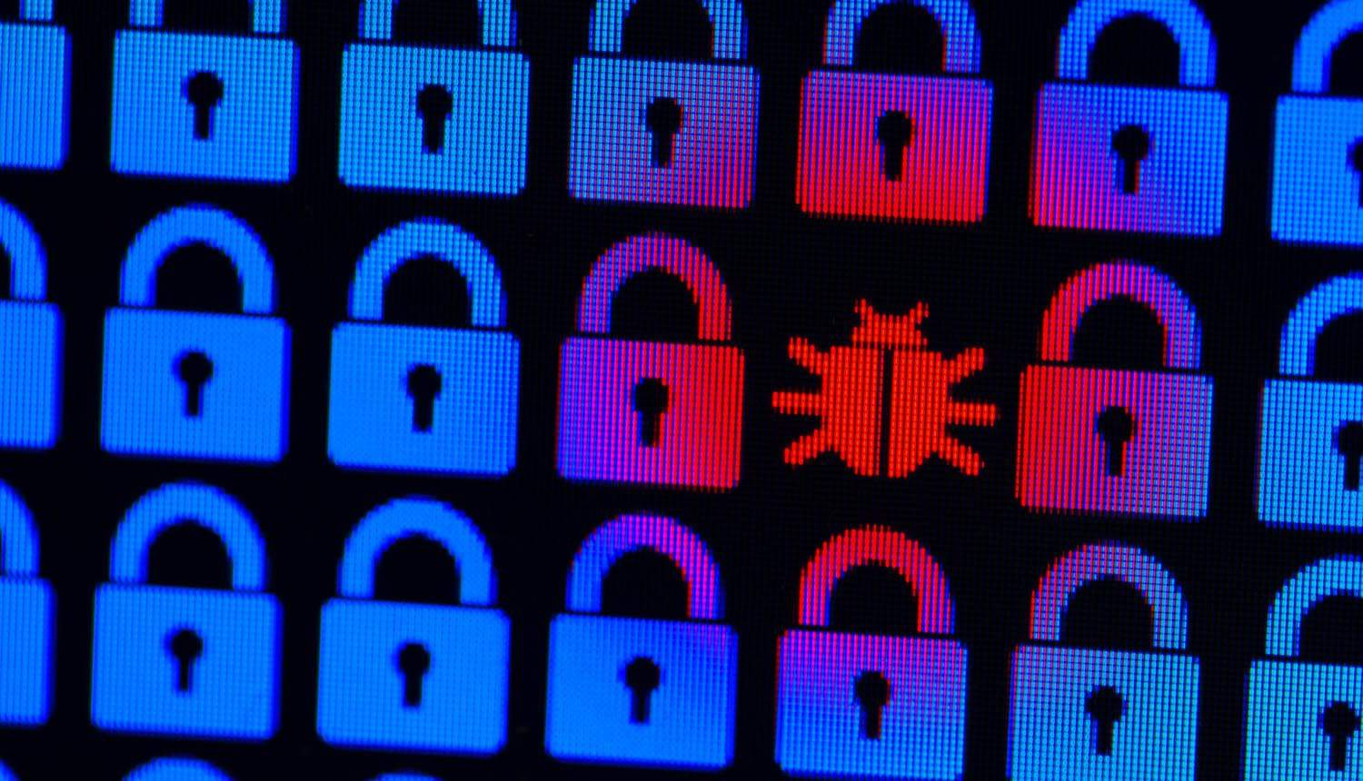 Blue pixel locks and red Bug on a black background showing impact of healthcare sector supply chain attacks involving 'Kwampirs' malware