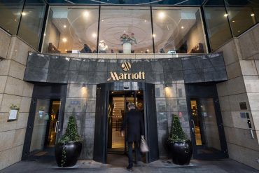 Lobby entrance to Marriott hotel showing Marriott's second major data breach in two years