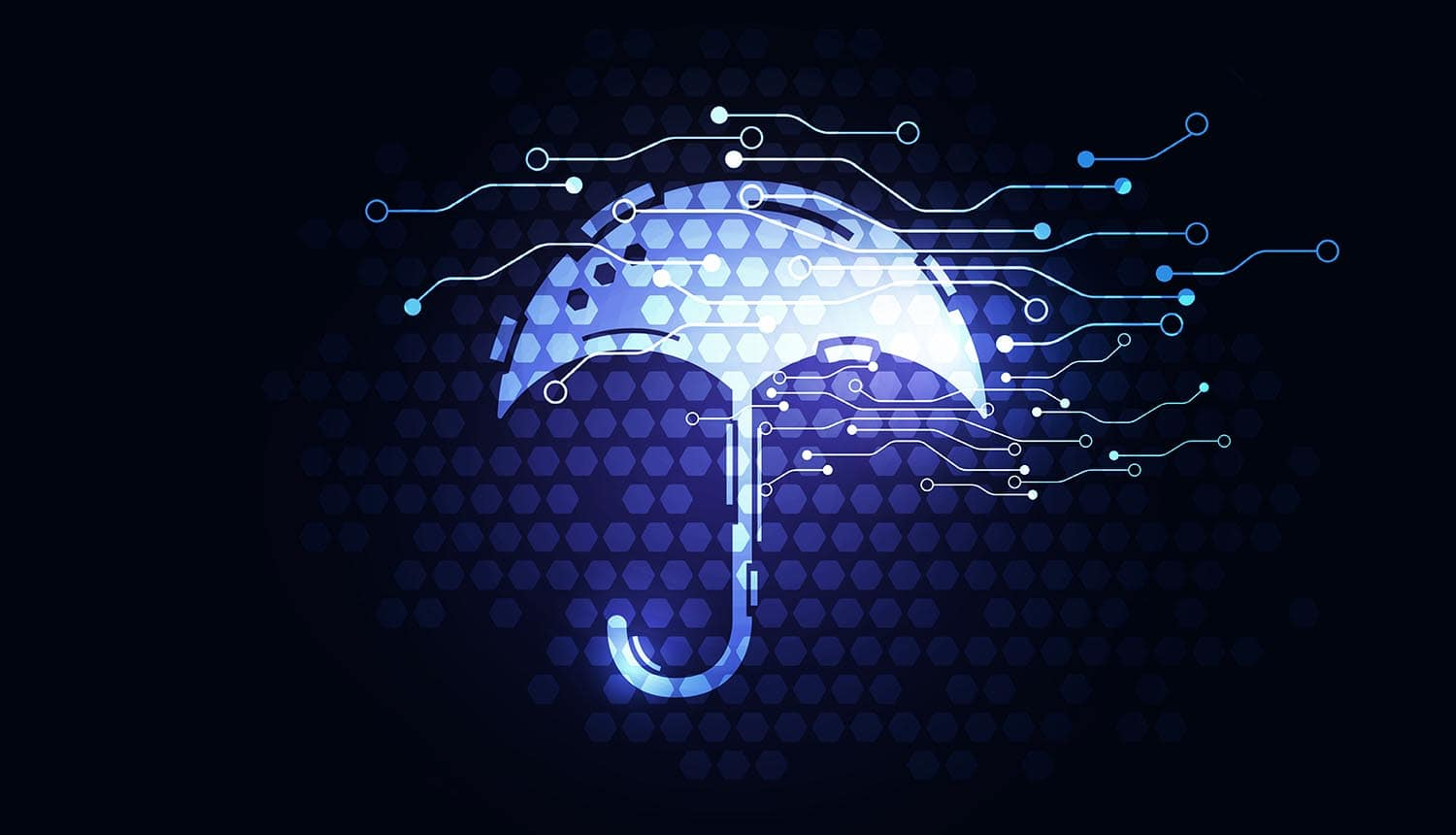 Digital form of an umbrella showing an increase in companies turning to cyber insurance
