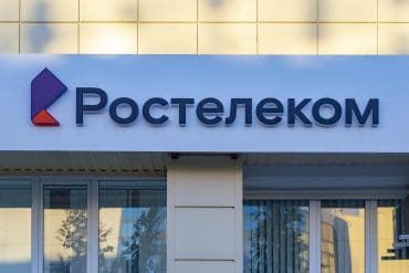 Russian state-owned telecommunications provider Rostelecom sign on the facade of building showing BGP hijacking of internet traffic