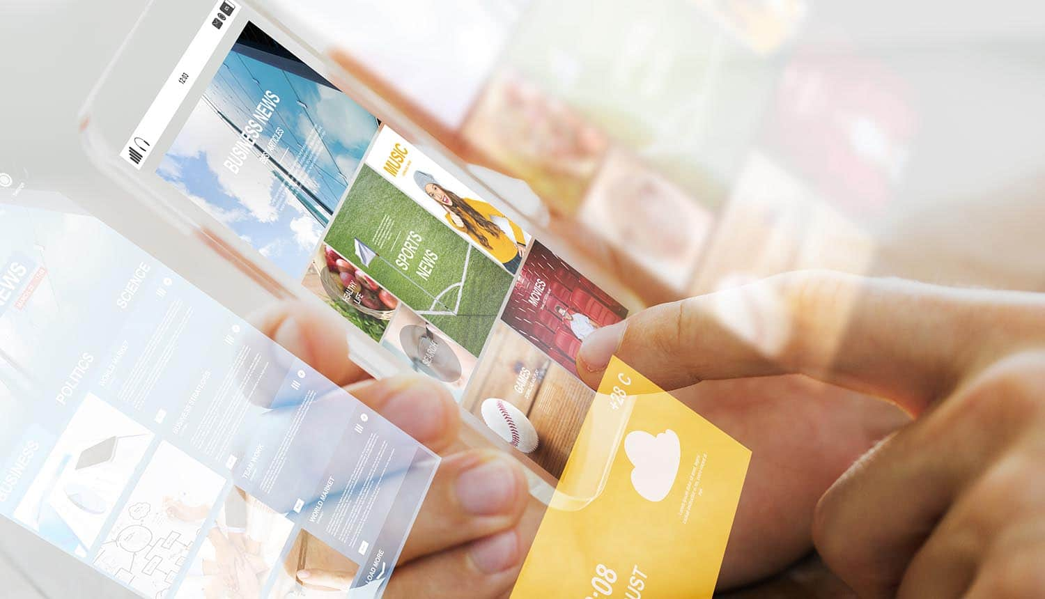 Close up of hand holding transparent smartphone with common ideas for websites