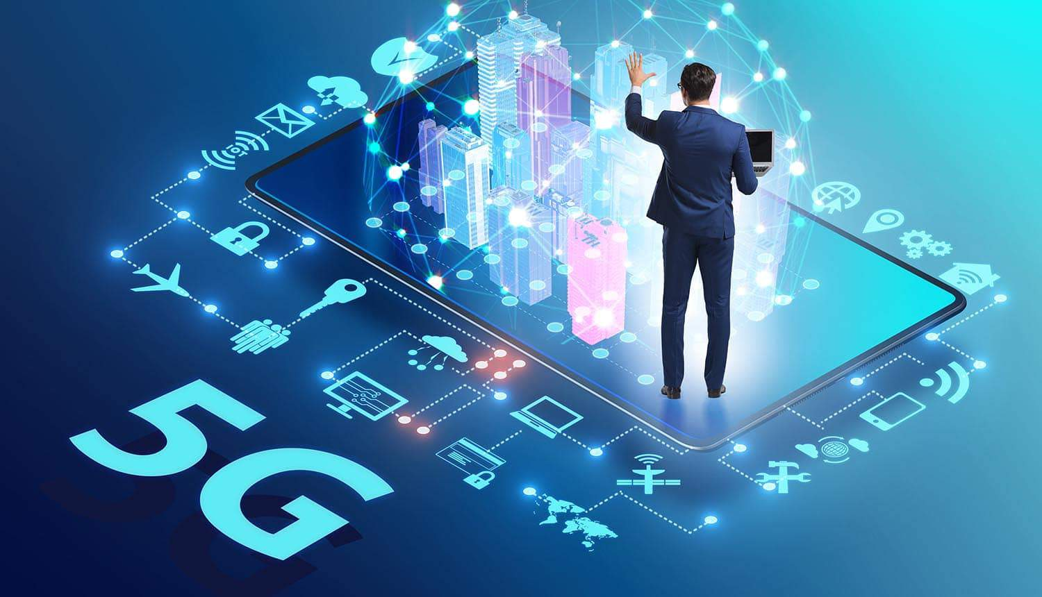 Businessman using 5G technologies showing the national strategy for 5G security
