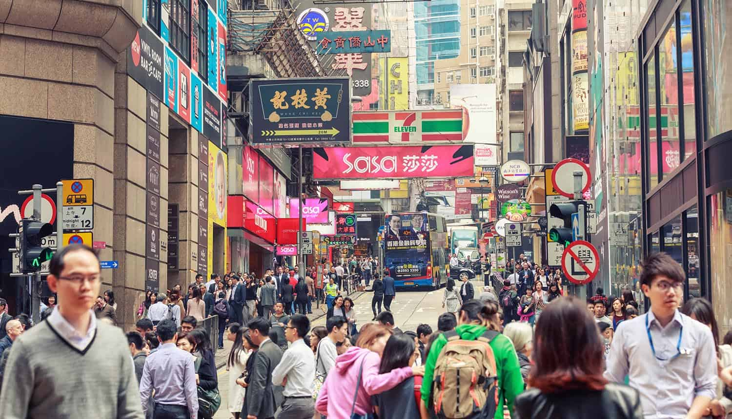 View of a crowded Hong Kong street showing the relationship between employment agency and data protection laws in Hong Kong